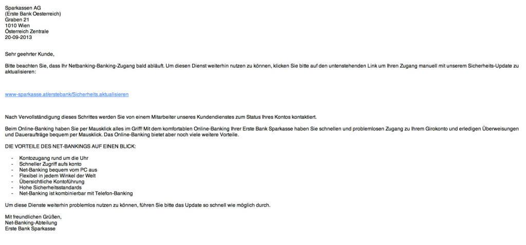 Erste Bank als Spamopfer, besonders gefährliches Exemplar, weil ohne Rechtsschreibfehler (21.09.2013)