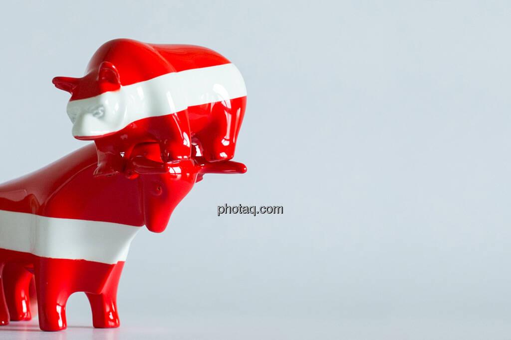 rot/weiß/roter Bulle und rot/weiß/roter Bär, Bulle nimmt Bär auf die Hörner, © Wiener Börse / Konzept be.public / Foto: finanzmarktfoto.at/Martina Draper (23.09.2013)