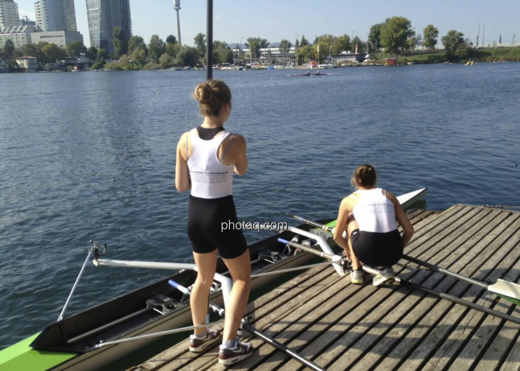 Zwei, Wasser, Rudern, Alte Donau (28.09.2013)
