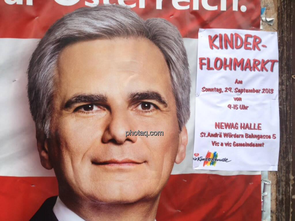 Wahlplakat SPÖ, Werner Faymann, Kinderflohmarkt (29.09.2013)