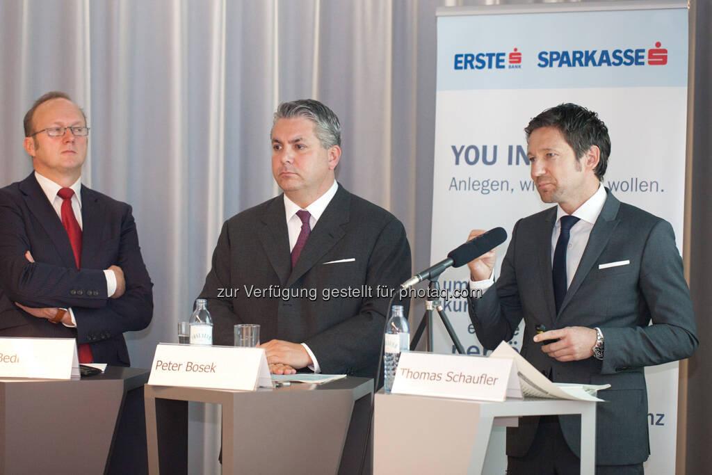 Heinz Bednar (Erste-Sparinvest) Vorstandsvorsitzender, Peter Bosek (Erste Bank Österreich Vorstand), Thomas Schaufler (Erste Asset Management Vorstand), © Michaela Mejta / finanzmarktfoto.at (30.09.2013)