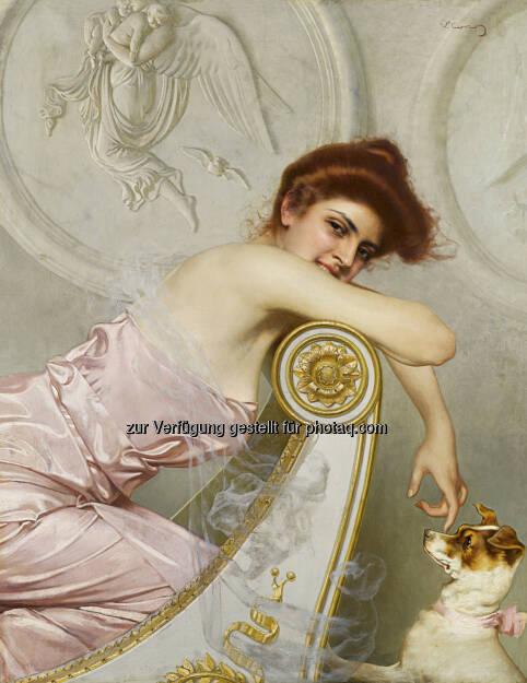 Vittorio Matteo Corcos (1859 - 1933) Junge Dame mit Hündchen, ca. 1895, Öl/Leinwand, 108 x 85 cm  Schätzwert € 100.000 - 150.000  Auktion 16. Oktober 2013 , © Dorotheum (10.10.2013)