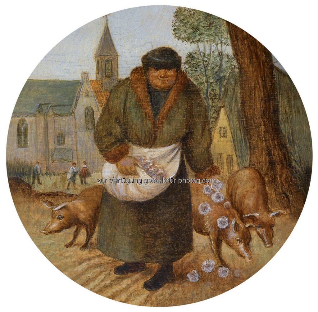 Pieter Brueghel II (1564 - 1637/38) Perlen vor die Säue werfen, Öl/Holz, Durchm. 12,5 cm  Schätzwert € 100.000 - 150.000  Auktion 15. Oktober 2013 , © Dorotheum (10.10.2013)