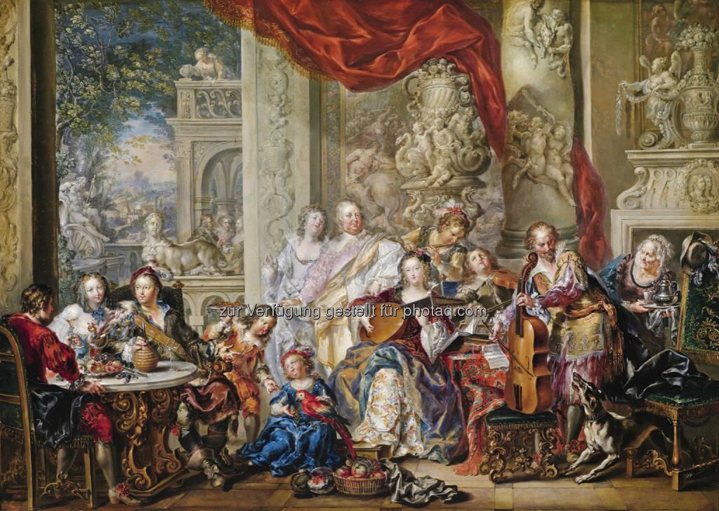 Johann Georg Platzer (1704 - 1761) Konzert im Palast, Öl/Kupfer, 65,3 x 92,4 cm  Schätzwert € 120.000 - 150.000  Auktion 15. Oktober 2013 , © Dorotheum (10.10.2013)