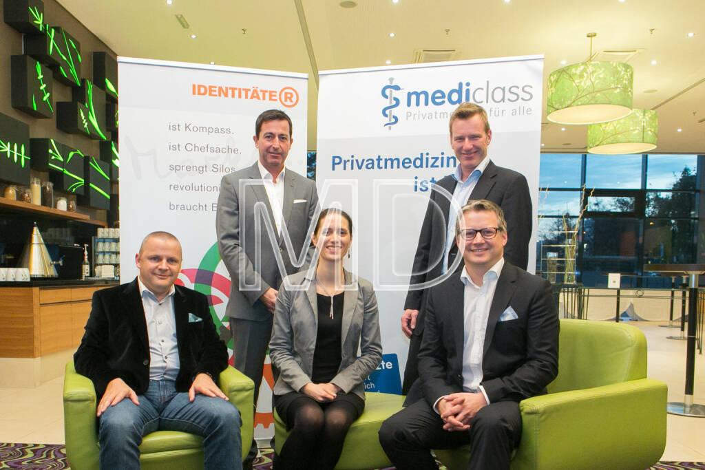 Joachim Burger (T-Mobile), Christoph Sauermann (MediClass), Jörg Buckmann (Zürcher Verkehrsbetriebe), Barbara Grundei (T-Mobile), Ralf Tometschek (Identitäter), © Martina Draper (16.10.2013)