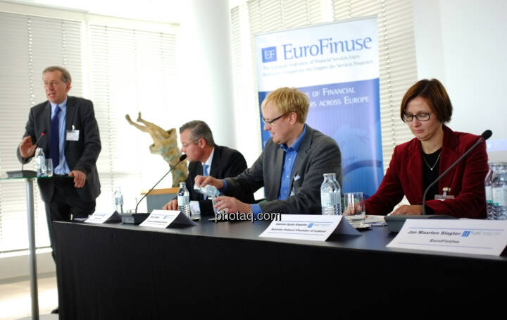Wilhelm Rasinger (IVA) Joachim von Cornberg (Head of Corporate Law and Compliance, DZ Bank Group), Olivier Gajda (Co-founder and Chairman of the European Crowdfunding Network), Gabriele Zgubic-Engleder (Head of Department of Consumer Policy, Austrian Federal Chamber of Labour and member of the ESMA Securities & Markets Stakeholder Group)