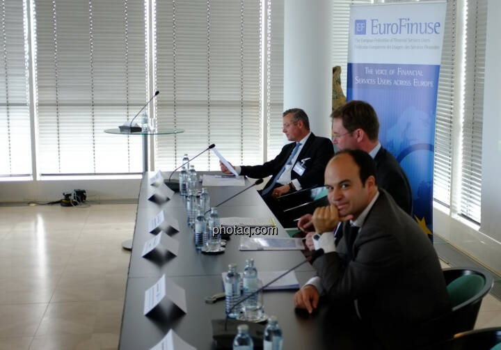 Joachim von Cornberg (Head of Corporate Law and Compliance, DZ Bank Group),  Jan Maarten Slagter (EuroFinuse), Carlos Maravall (Senior Financial Market Analyst, European Commission, DG Internal Market and Services)