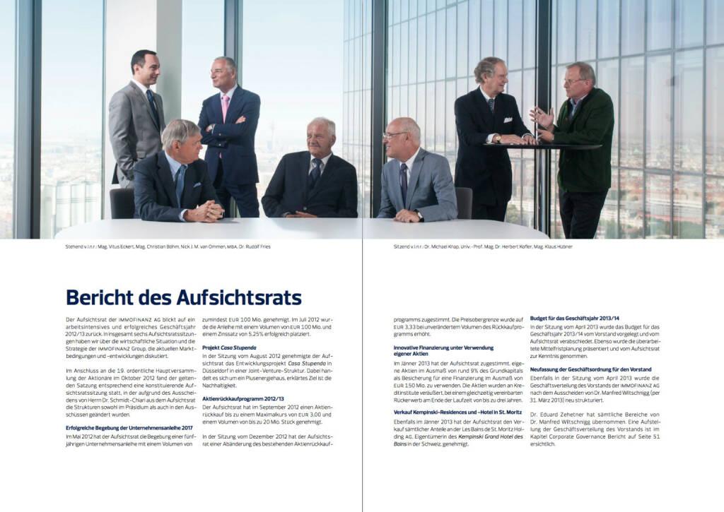 Bericht des Aufsichtsrats, Vitus Eckert, Christian Böhm, Nick J. M. van Ommen, Rudolf Fries, Michael Knap, Herbert Kofler, Klaus Hübner, © Immofinanz (18.10.2013)