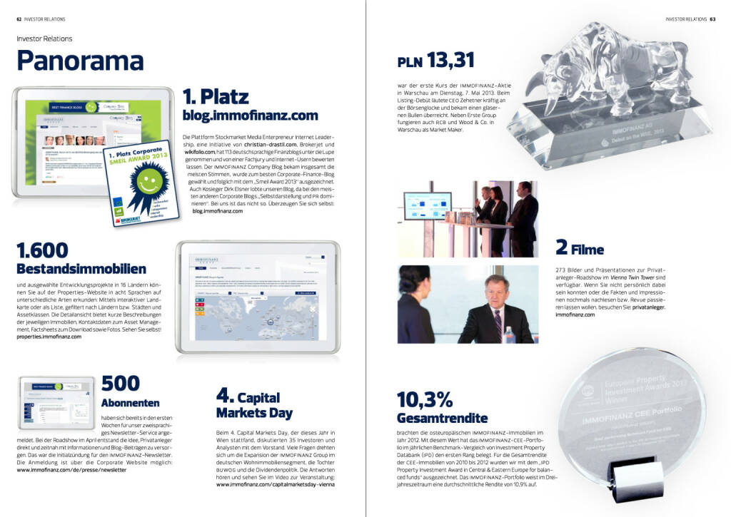 "Panorama, 1. Platz blog.immofinanz.com ""Smeil Award 2013"", Bestandsimmobilien, Capital Markets Day, © Immofinanz (18.10.2013)"