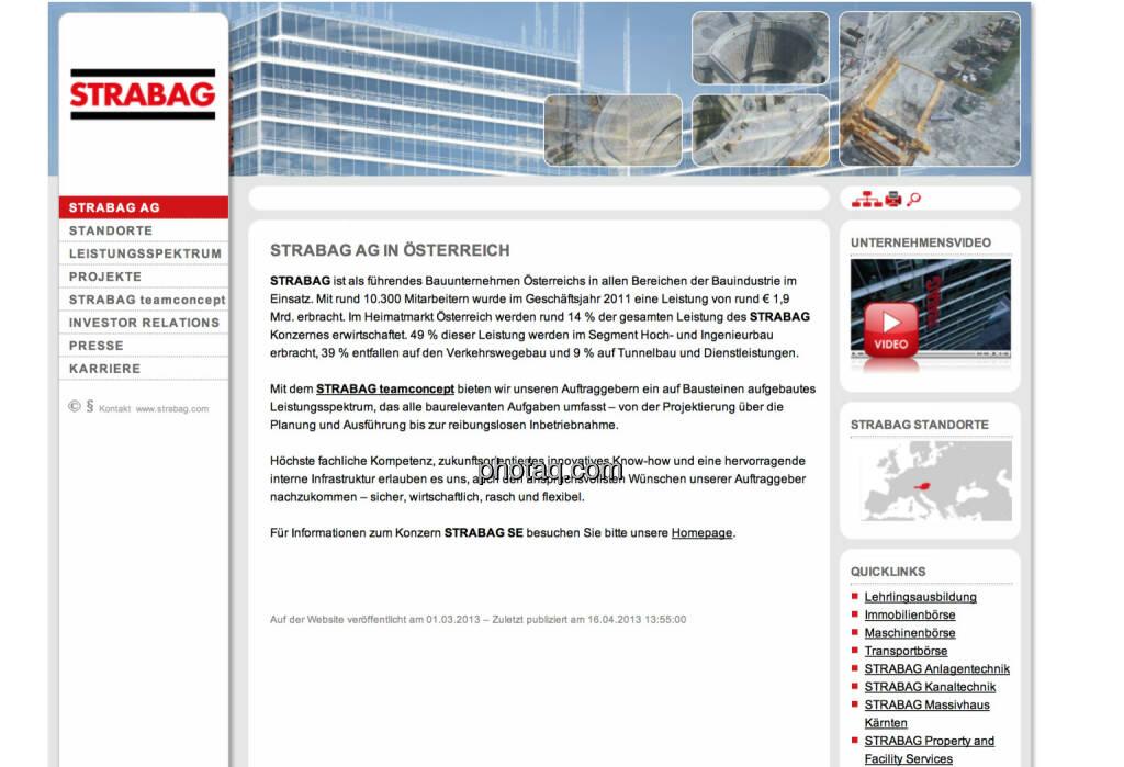 Strabag ist am 19.10. 2007 an die Wiener Börse gegangen (19.10.2013)