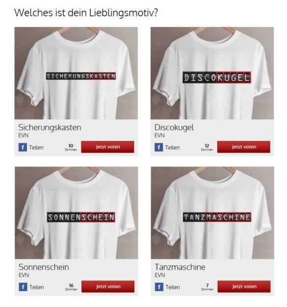 Tanzmaschine, Discokugel, Sonnenschein? Das EVN Get-Shirty Voting unter http://bit.ly/EVNGetShirty (19.10.2013)