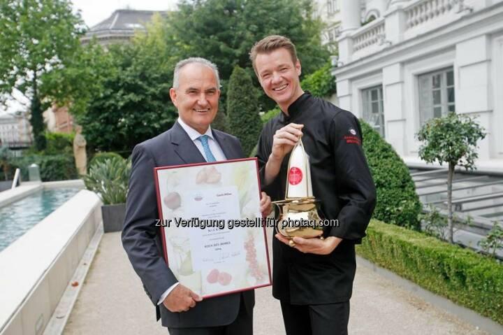 """Agrana und Gault Millau haben Silvio Nickol mit der begehrtesten Auszeichnung in der heimischen Gastronomiebranche """"Koch des Jahres 2014"""" ausgezeichnet (c) Agrana"""