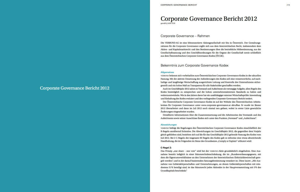 Corporate Governance Bericht 2012, © Verbund (22.10.2013)