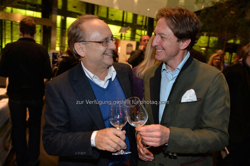 "Bank Austria-Werbeleiter Peter Drobil, ""Weine. Winzer. Wege.""-Produzent Marc Zimmermann, © leisure.at/Christian Jobst (25.10.2013)"