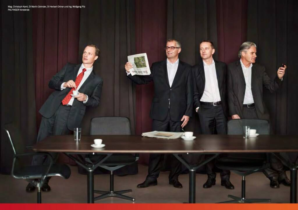 Christoph Kaml, Martin Zehnder, Herbert Ortner, Wolfgang Pilz - Palfinger Vorstände, © Palfinger (30.10.2013)