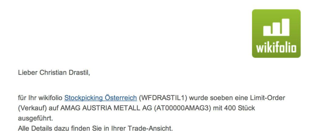 37. Trade  für https://www.wikifolio.com/de/DRASTIL1: Ich verkaufte 400 Amag zu 21,58 Euro, Grund war die lose Ankündigung einer Kapitalerhöhung, © wikifolio WFDRASTIL1 (01.11.2013)
