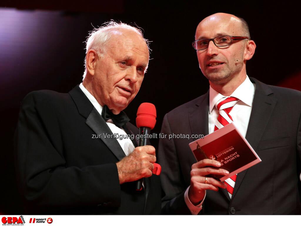Praesident Michael Kuhn (Sports Media Austria) und Moderator Tom Blaeumauer. Foto: GEPA pictures/ Markus Oberlaender (02.11.2013)