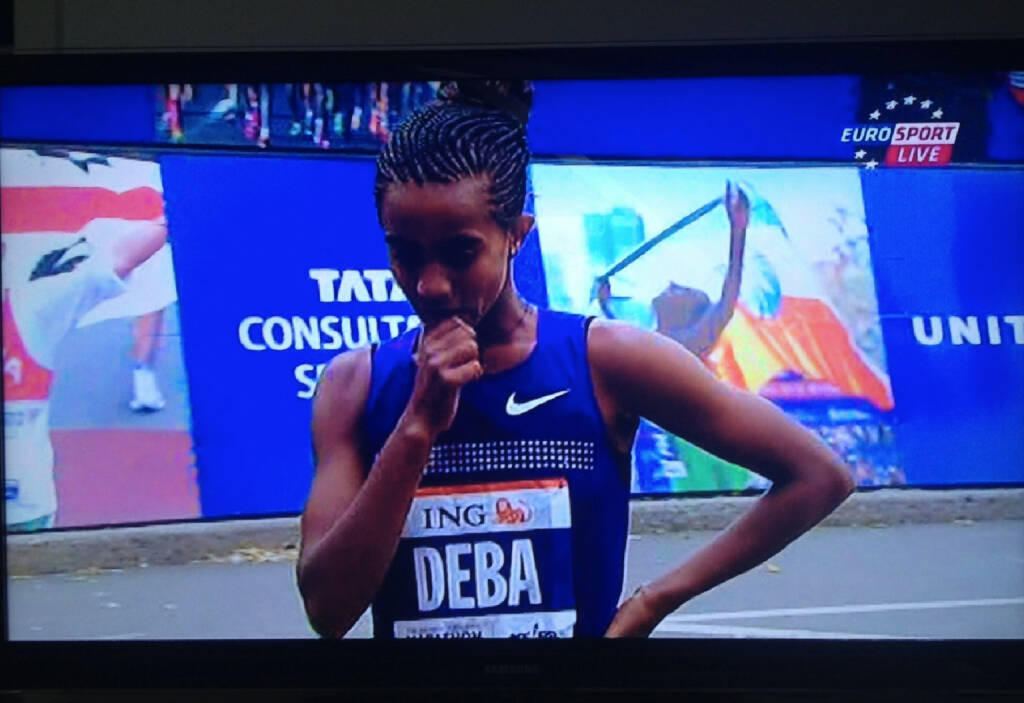 ING Deba - Buzunesh Deba aus Äthiopien hatte beim NYC-Marathon bis KM37 geführt, wurde 2. (c) Eurosport (04.11.2013)