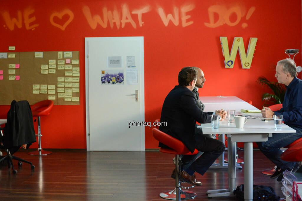 Lucanus Polagnoli (whatchado), Ali Mahlodji (whatchado), Christian Drastil, © finanzmarktfoto.at/Martina Draper (08.11.2013)