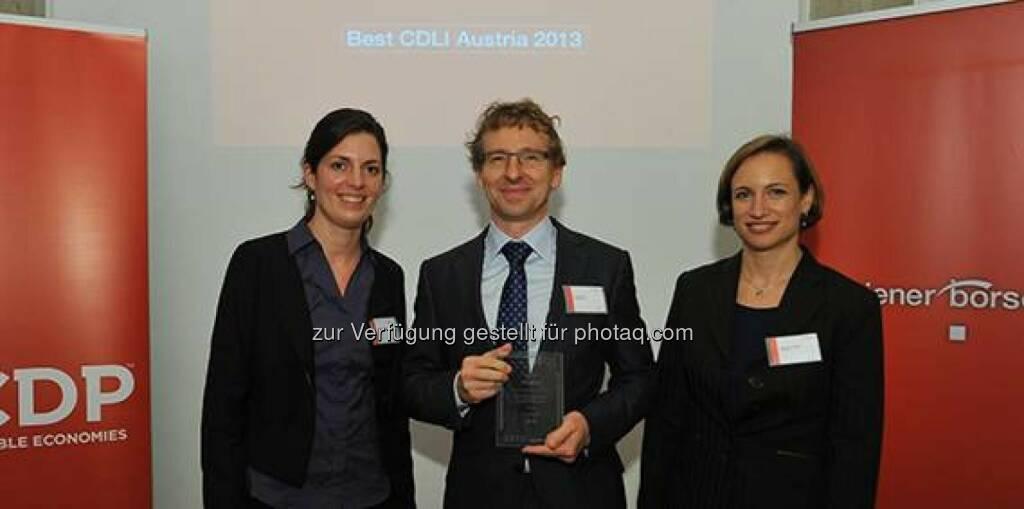 Verbund, eine internationale Auszeichnung für Klimaschutz: Als bestes österreichisches Unternehmen und bester Energieversorger im D-A-CH-Report den Carbon Disclosure Project 2013 verliehen bekommen. http://goo.gl/s3G5rg (09.11.2013)