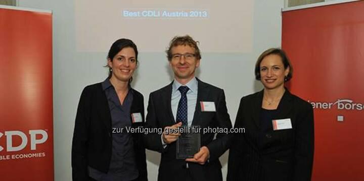 Verbund, eine internationale Auszeichnung für Klimaschutz: Als bestes österreichisches Unternehmen und bester Energieversorger im D-A-CH-Report den Carbon Disclosure Project 2013 verliehen bekommen. http://goo.gl/s3G5rg