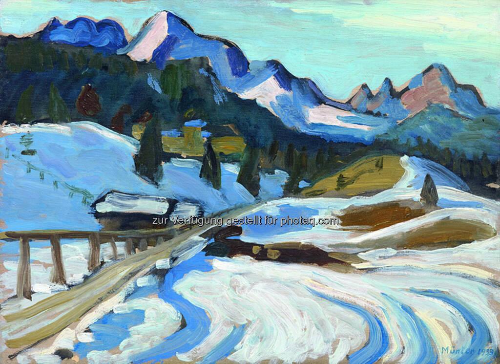 Gabriele Münter (1877 - 1962) Winter in Elmau, 1933, Öl/Sperrholz, 33 x 45 cm  Schätzwert € 260.000 - 300.000  Auktion 28. November 2013 , © Dorotheum (12.11.2013)