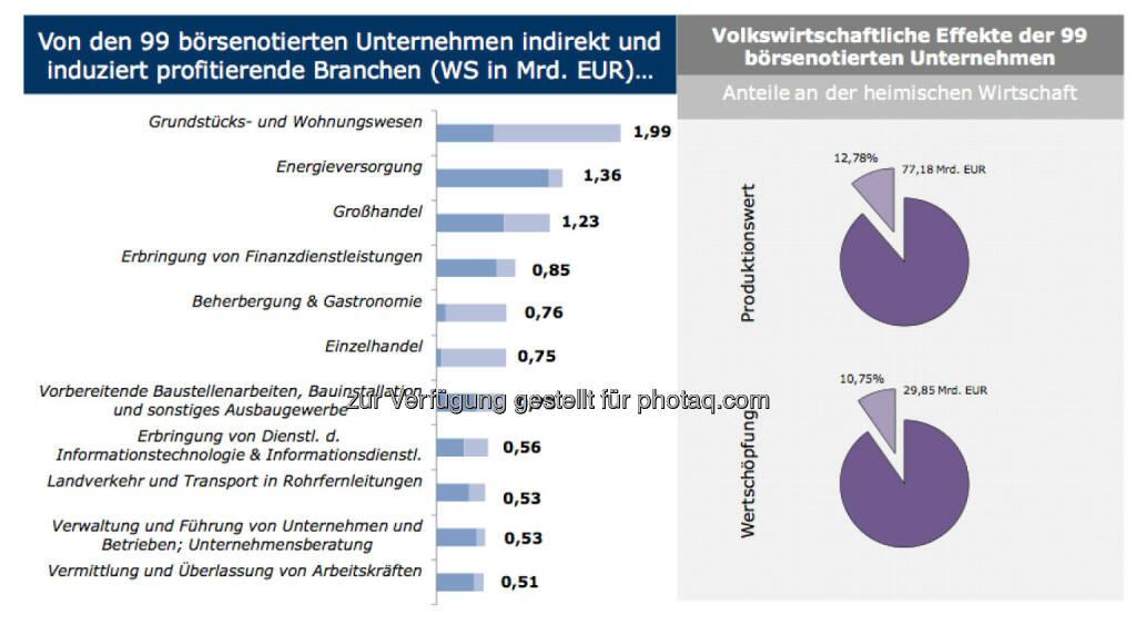 Von den 99 börsenotierten Unternehmen indirekt und induziert profitierende Branchen (WS in Mrd. EUR)..., © IWI (17.11.2013)