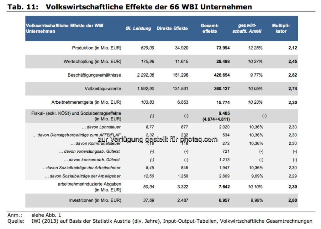 Volkswirtschaftliche Effekte der 66 WBI Unternehmen, © IWI (17.11.2013)