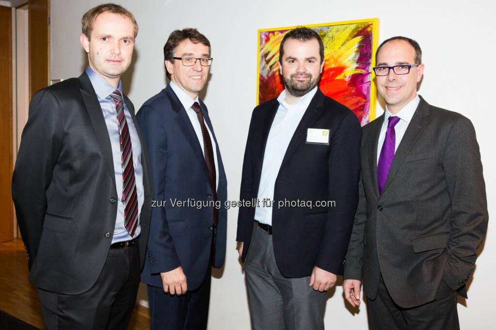 v.li.: Hannes Haider (Investor Relations Agrana), Harald Hagenauer (Investor Relations Österreichische Post AG), Stefan Greunz (Head of Business Development Wikifolio), Andreas Novotny (Wertpapierspezialist Wienwert), © BE/Franz Reiterer (21.11.2013)