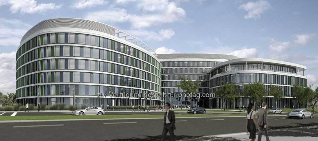 """Strabag: Die Tochtergesellschaft Ed. Züblin AG, Stuttgart hat im Auftrag der Flughafen Stuttgart GmbH mit dem schlüsselfertigen Bau des """"New Office Airport Stuttgart"""" begonnen. Der Auftragswert des Büroensembles, das im Partnerschaftsmodell mit einem garantierten Maximalpreis errichtet und nach seiner Fertigstellung nahezu vollständig an die Unternehmensberatung Ernst & Young als deren Deutschlandzentrale vermietet wird, liegt bei rund € 95 Mio. (c) Strabag (25.11.2013)"""