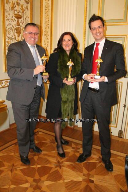 Finanzberater des Jahres 2013: Herbert Loidolt, Monika Kopf, Markus Leyacker-Schatzl, ©