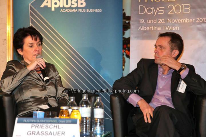 Eva Prieschl-Grassauer (FFG), Walter Schmidt (Co-Founder und CEO Affiris AG),