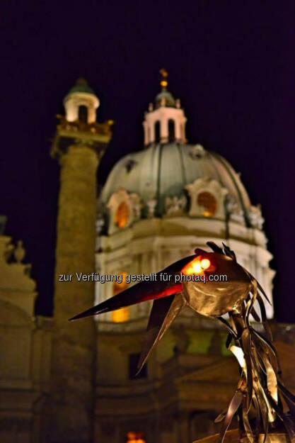 Rabe, Blech, Karlskirche, Wien, Lichter im Advent, www.fotomoldan.at, © Bernd Moldan (07.12.2013)