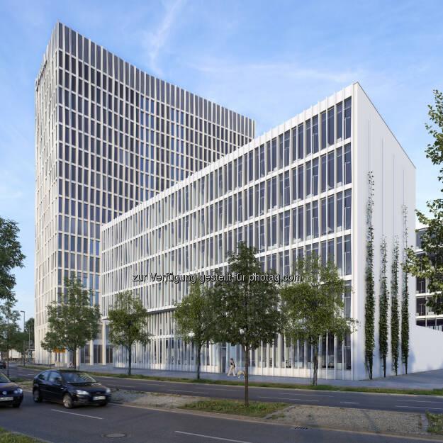 Neues MLP-Beratungszentrum zieht in das von CA Immo geplante Gebäude Monnet 4 - Europacity: Bürogebäude Monnet 4 (Visualisierung); im Hintergrund Tour Total (Bild: CA Immo) (12.12.2013)