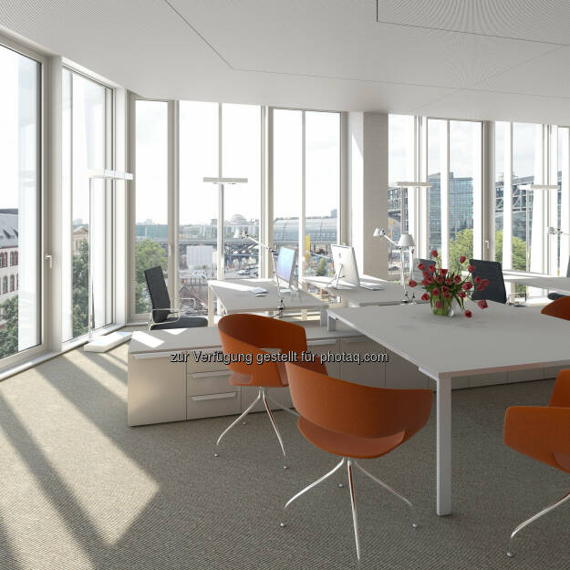 Neues MLP-Beratungszentrum zieht in das von CA Immo geplante Gebäude Monnet 4 - Europacity: Bürogebäude Monnet 4 (Visualisierung). Büro mit Blick zum Hauptbahnhof Berlin (Bild: CA Immo) (12.12.2013)
