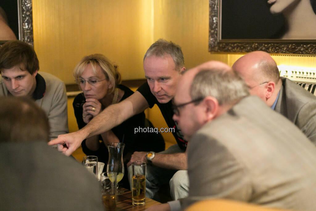 Chris Mattura (Investment Banking / Venture Capital), Isabella de Krassny (Donau Invest), Christian Drastil, Erwin Hof (Wiener Börse), Roland Meier (iQ-Foxx), © bsn/Martina Draper (12.12.2013)