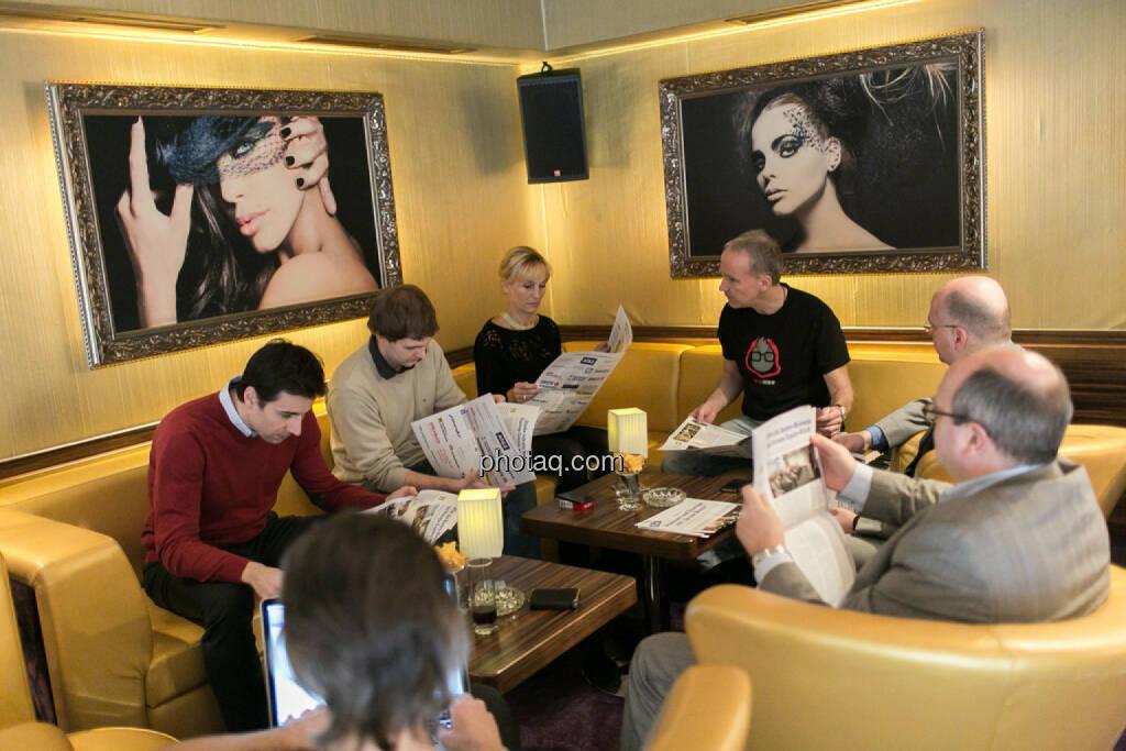 Igor Huic (Donau Invest), Chris Mattura (Investment Banking / Venture Capital), Isabella de Krassny (Donau Invest), Christian Drastil, Erwin Hof (Wiener Börse), Roland Meier (iQ-Foxx), Josef Chladek, © bsn/Martina Draper (12.12.2013)