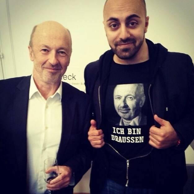 Hansi ich bin draussen! Hansmann und Ali Ich-bin-draussen-Shirt Mahlodji, von der Startupszene auf die Showbühne (16.12.2013)
