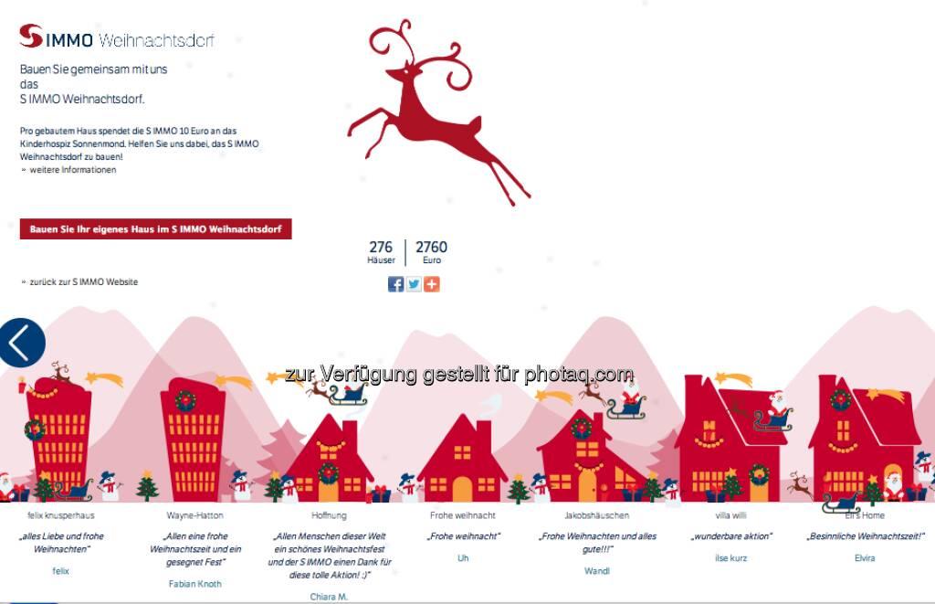 Kastl 2: www.simmoag.at/weihnachtsdorf/ - pro gebautem Haus spendet S Immo 10 Euro an das Kinderhospiz Sonnenmond (15.12.2012)