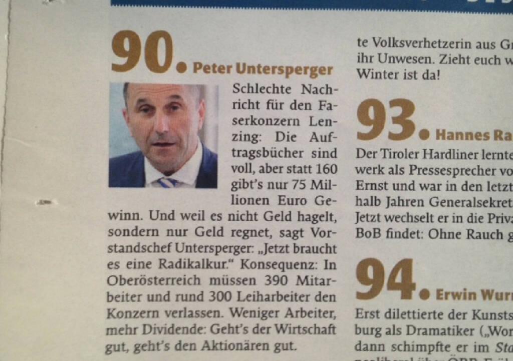 Peter Untersperger/Lenzing: Für den Falter der böseste ATX-Vorstand, © Falter 51-52/13 (21.12.2013)