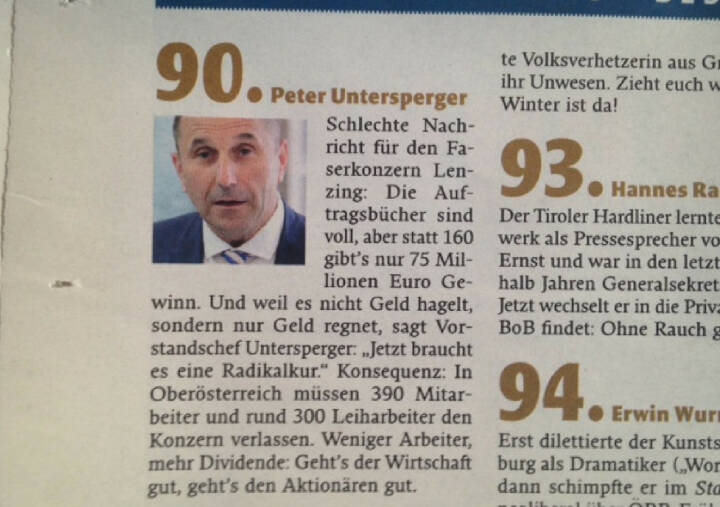 Peter Untersperger/Lenzing: Für den Falter der böseste ATX-Vorstand