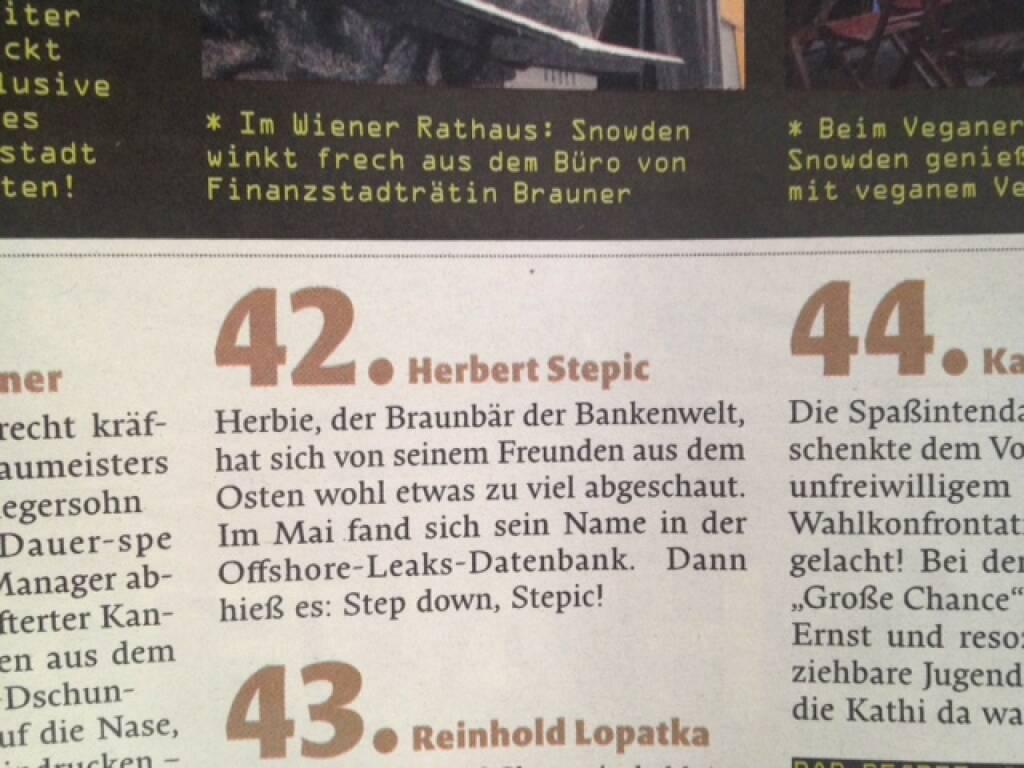 Herbert Stepic/RBI: Für den Falter der böseste Ex-ATX-Vorstand, © Falter 51-52/13 (21.12.2013)
