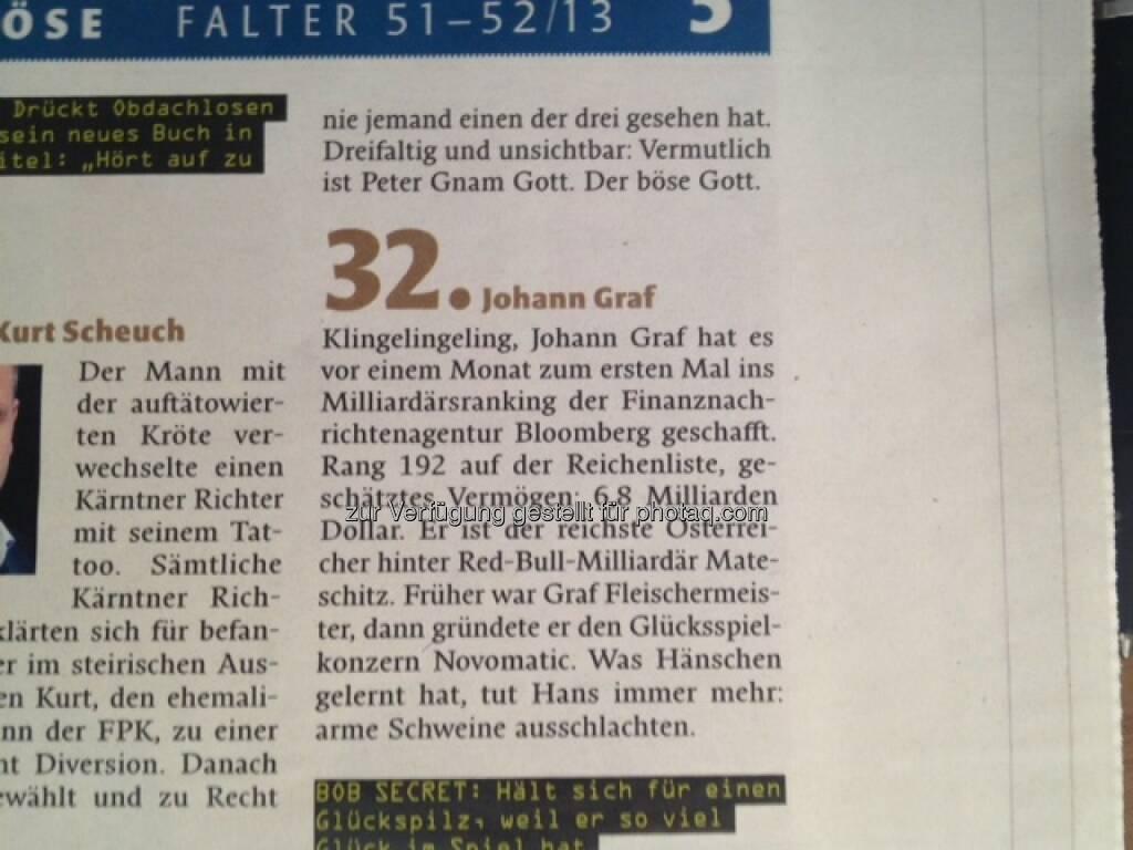 Johann Graf/Novomatic: Für den Falter der böseste Corporate-Bond-Emittent, © Falter 51-52/13 (21.12.2013)