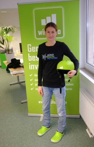 Christina Öhler, wikifolio, im Börse Social Network-Shirt (21.12.2013)