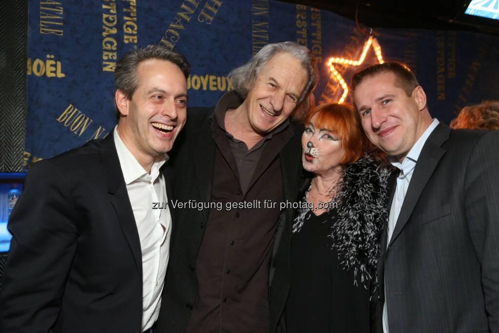 Wiener Bezirksblatt-Boss Thomas Strachota, Erich Schleyer, Chris Lohner, Austro Control-Sprecher Markus Pohanka, © leisure.at/Ludwig Schedl (21.12.2013)