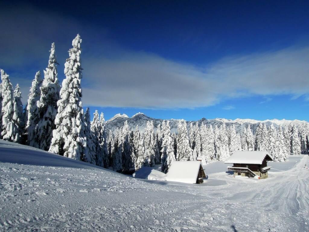 Schnee, Bäume, Hütten, Vigljoch, Südtirol, © Peter Sitte (27.12.2013)