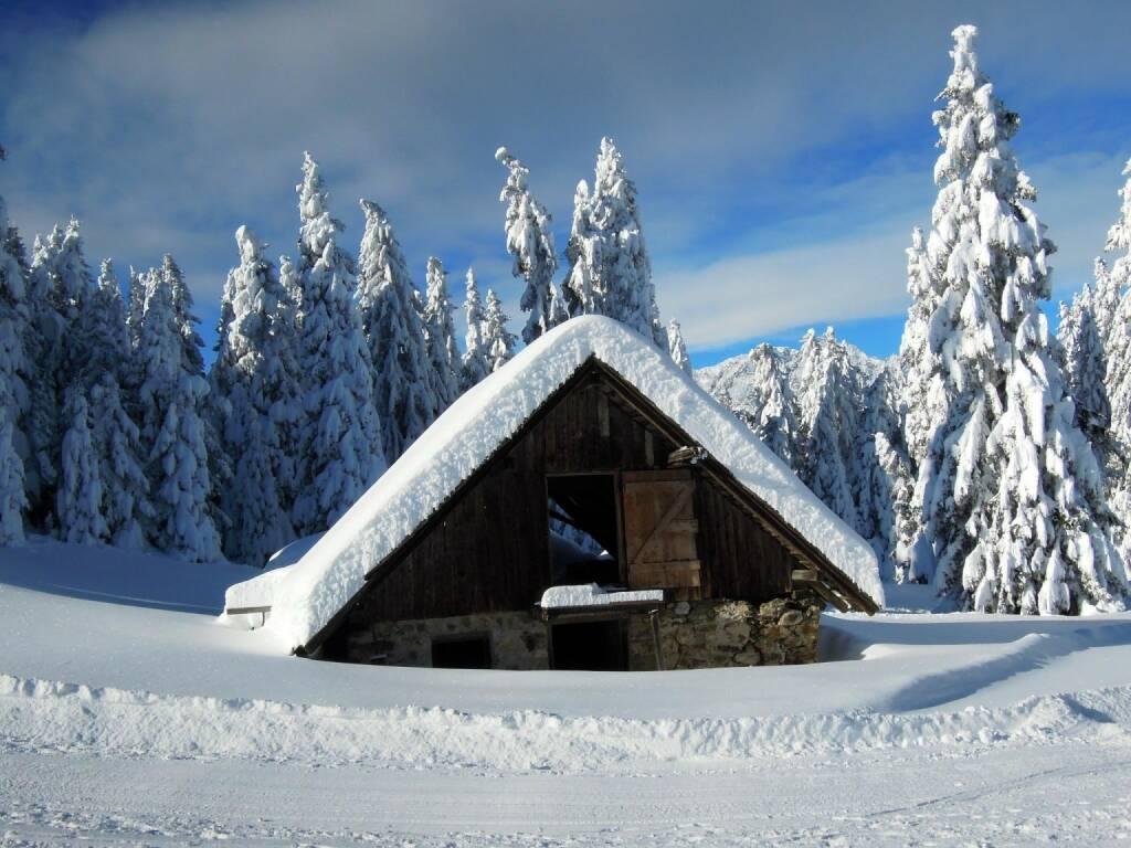 Hütte, Schnee, Bäume, Vigljoch, Südtirol, © Peter Sitte (27.12.2013)