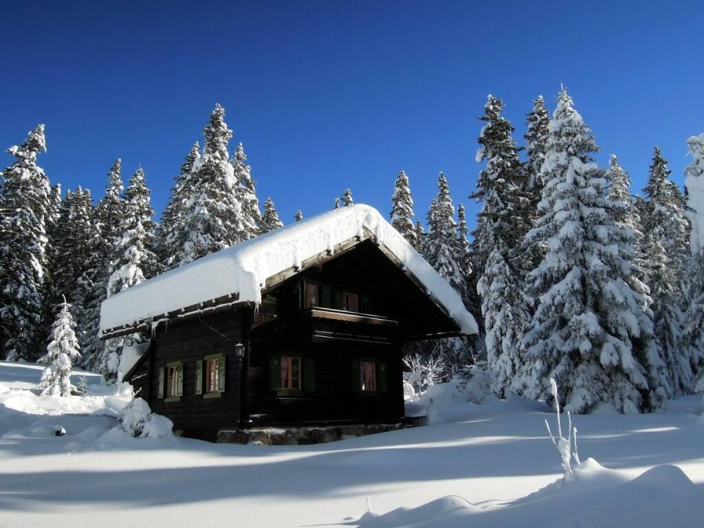 Hütte, Bäume, Schnee, Vigljoch, Südtirol, © Peter Sitte (27.12.2013)