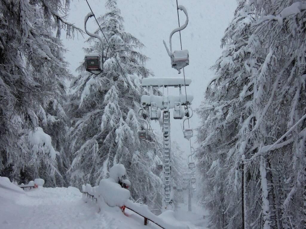 Sessellift, Schnee, Bäume, Vigljoch, Südtirol, © Peter Sitte (29.12.2013)
