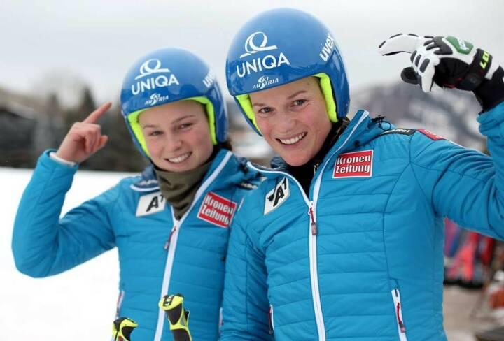 Bernadette Schild, Marlies Schild. Viel Glück und eine gute Fahrt beim Slalom in Bormio wünscht Uniqa